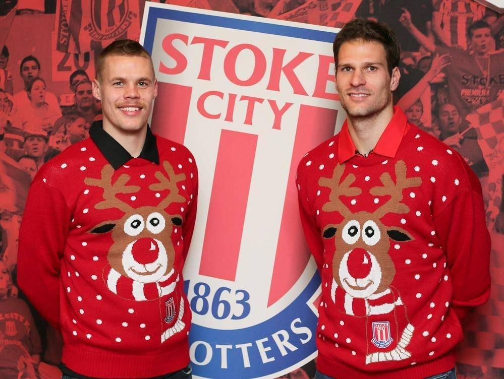 Ryan Shawcross and Asmir Begovic take to the catwalk with Stoke's Christmas winter woollies
