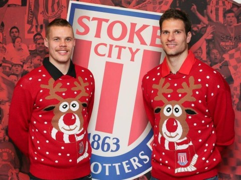 Ryan Shawcross and Asmir Begovic take to the catwalk with Stoke's Christmas winter woollies