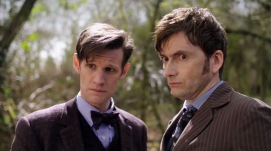 The Tenth and Eleventh Doctors are working side by side in The Day of the Doctor (Picture: BBC)