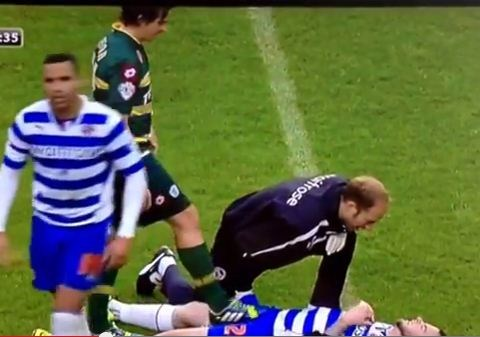 QPR's Joey Barton gives former Newcastle team-mate Danny Guthrie's tackle the boot – Video