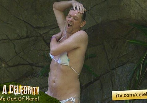 I'm A Celebrity 2013: Matthew Wright lampoons Amy Willerton with a bikini shower of his own