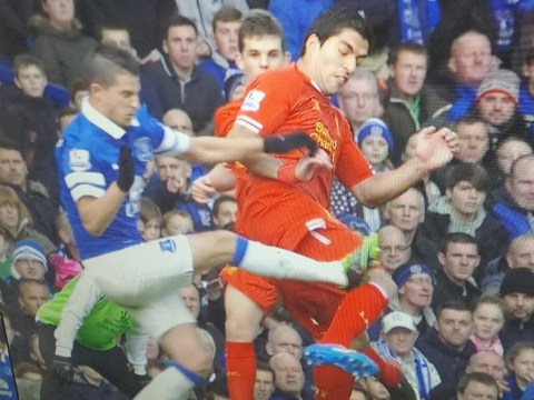 Ouch! Luis Suarez left with impressive stud marks after Kevin Mirallas challenge