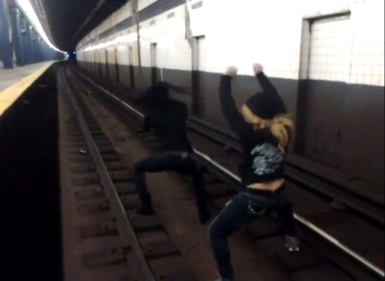 Video: Women filmed twerking on New York subway tracks