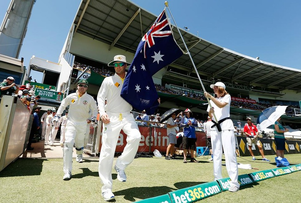 PERTH, AUSTRALIA - DECEMBER 15: Michael Clarke of Australia leads the team out at the start of day three of the Third Ashes Test Match between Australia and England at WACA on December 15, 2013 in Perth, Australia. Will Russell/Getty Images