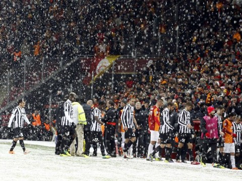 Champions League match between Galatasaray and Juventus abandoned due to snow… days after NFL match carried on in blizzard