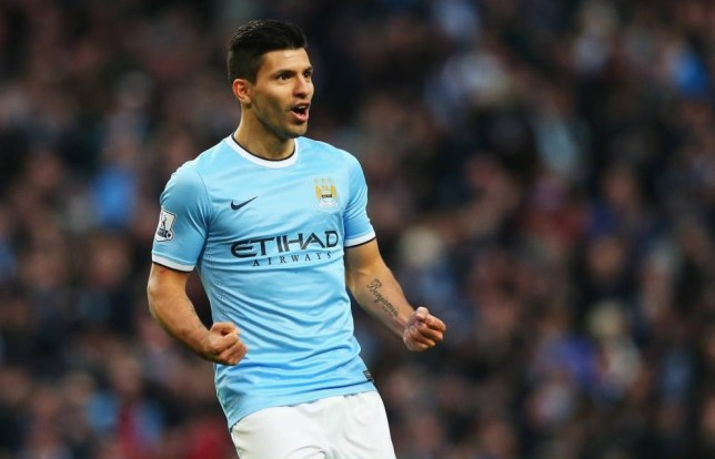 MANCHESTER, ENGLAND - NOVEMBER 24:  Sergio Aguero of Manchester City celebrates his second goal during the Barclays Premier League match between Manchester City and Tottenham Hotspur at Etihad Stadium on November 24, 2013 in Manchester, England.  (Photo by Alex Livesey/Getty Images)