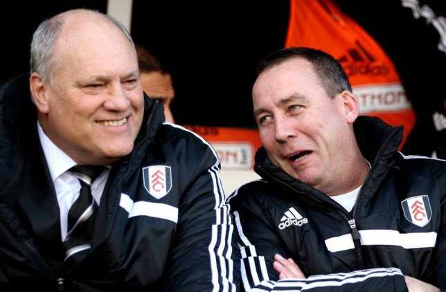 FILE - DECEMBER 01, 2013: Martin Jol has been sacked by Fulham and replaced by former head coach Rene Meulensteen. LONDON, ENGLAND - NOVEMBER 23:  (L-R) Martin Jol the Fulham manager chats with Rene Meulensteen the Fulham head coach prior to kickoff during the Barclays Premier League match between Fulham and Swansea City at Craven Cottage on November 23, 2013 in London, England.  (Photo by Ian Walton/Getty Images)