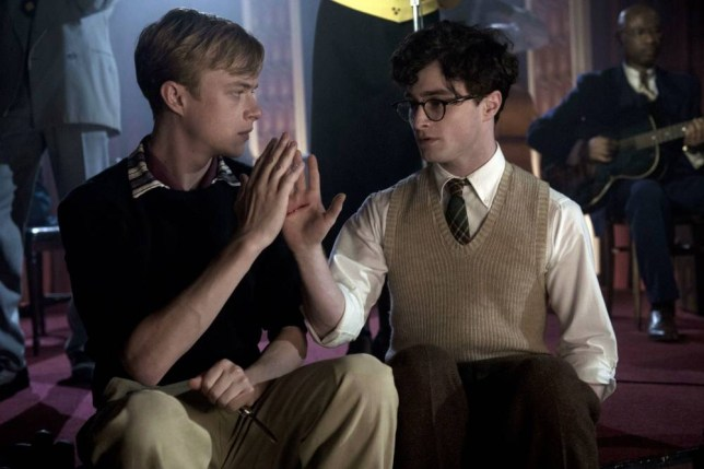 Young love:Daniel Radcliffe  and Dane DeHaan share 'quite  a good kiss' as Allen Ginsberg and Lucien Carr (Picture: Supplied)