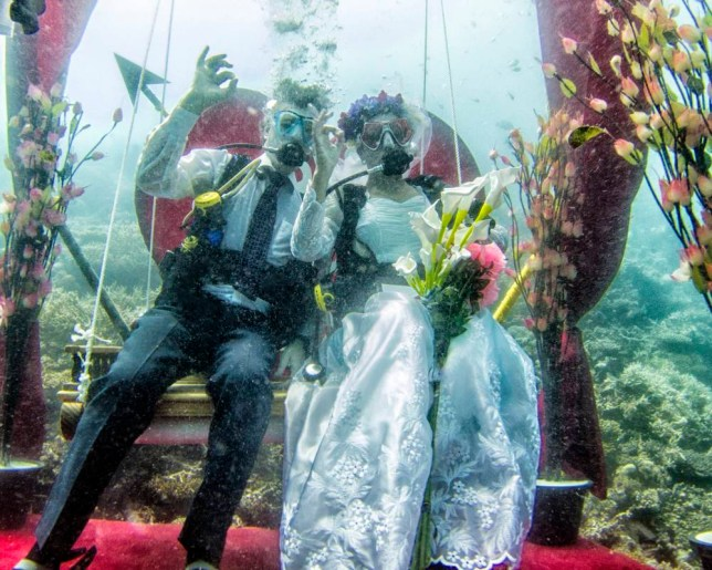 There isn't a dry eye as scuba divers get married underwater in the Maldives