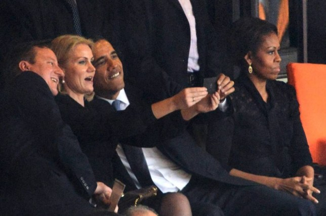 Obama selfie: Barack Obama, David Cameron and Danish leader Helle Thorning-Schmidt pose (Picture: AFP/Getty)