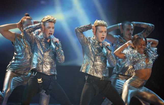 EDITORIAL USE ONLY - NO MERCHANDISING - NO BOOK PUBLISHING Mandatory Credit: Photo by Jonathan Hordle/Thames/REX (3428699n) Guest stars - Jedward 'The X Factor' final TV show, Wembley Arena, London, Britain - 14 Dec 2013