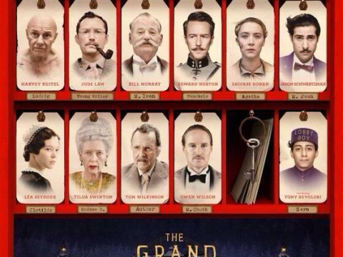 The Grand Budapest Hotel poster shows star-studded cast looking suitably quirky