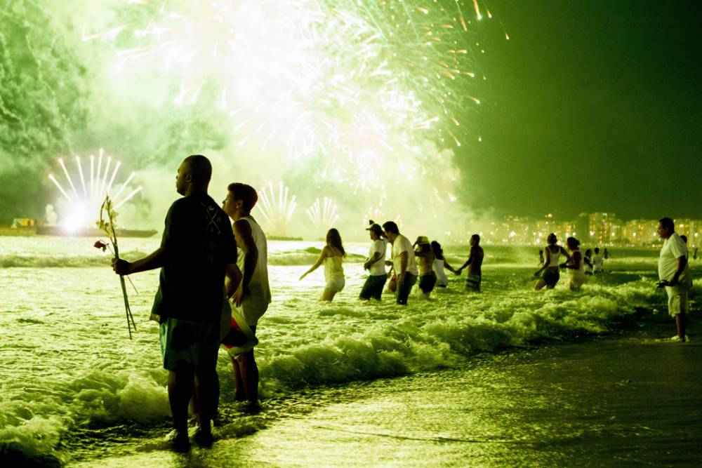 New Year's Eve at Copacabana Beach in Rio de Janeiro (Picture: Ari Versiani/AFP/Getty)