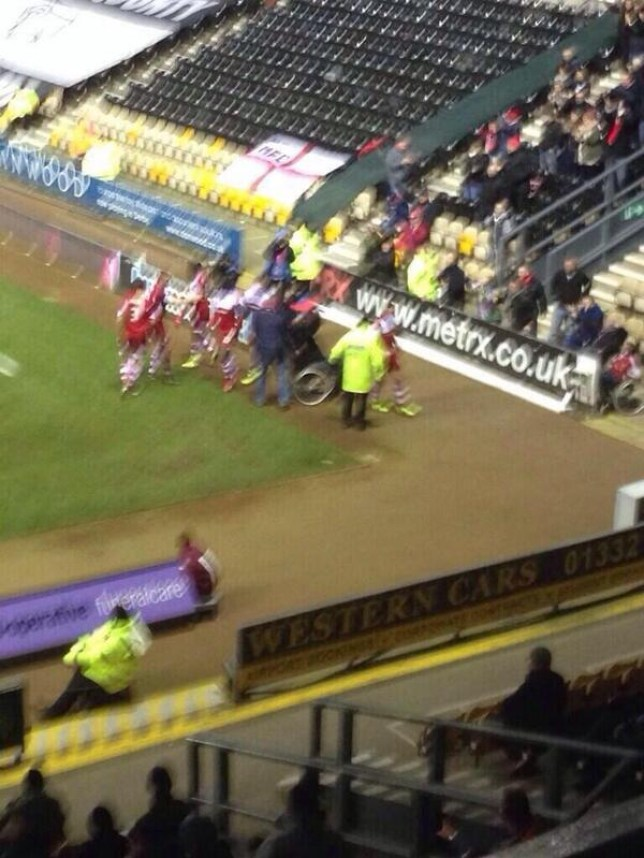 The wheelchair pitch invader at Middlesbrough (Picture: Twitter)