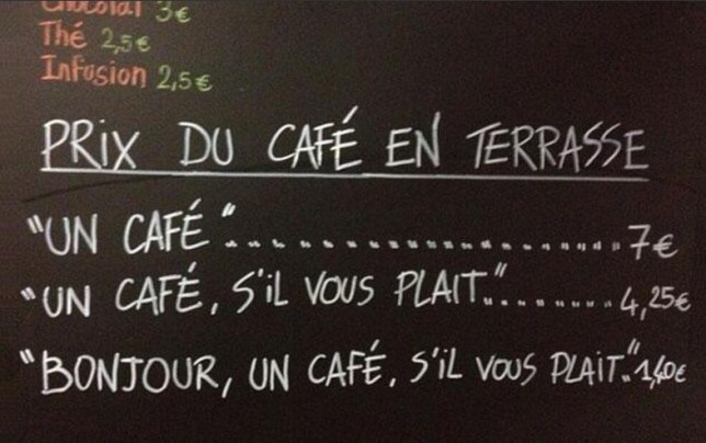 French café starts charging extra to 'rude customers'