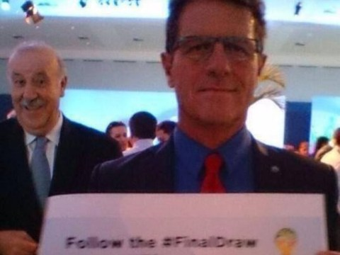 Spain coach Vicente del Bosque photobombs Fabio Capello at World Cup draw