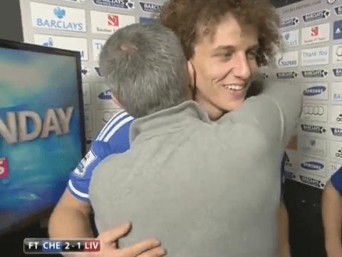 Impatient! Jose Mourinho interrupts TV interview to hug David Luiz and Eden Hazard
