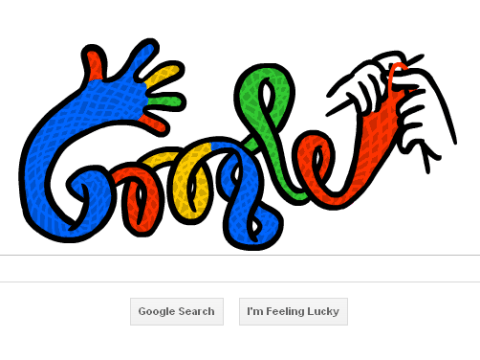 Why has Google got a funky knitting doodle? Because it's the winter solstice, of course