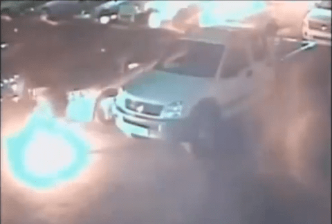 Suspected petrol thief sets car park alight with cigarette