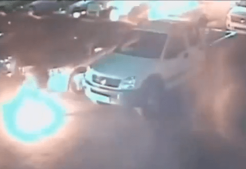 Suspected petrol thief sets car park alight with cigarette