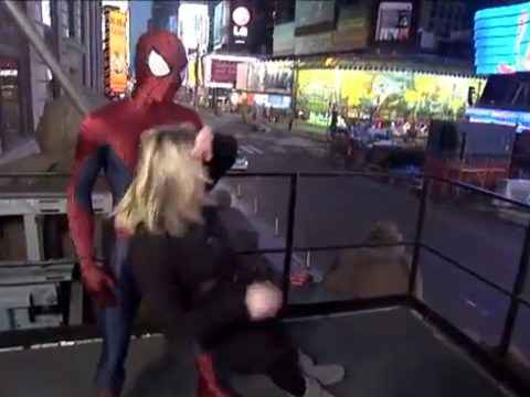 Video: Spider-Man misses his cue and drops news reporter