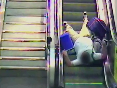 Watch your step! Hilarious CCTV footage shows escalator slips and trips