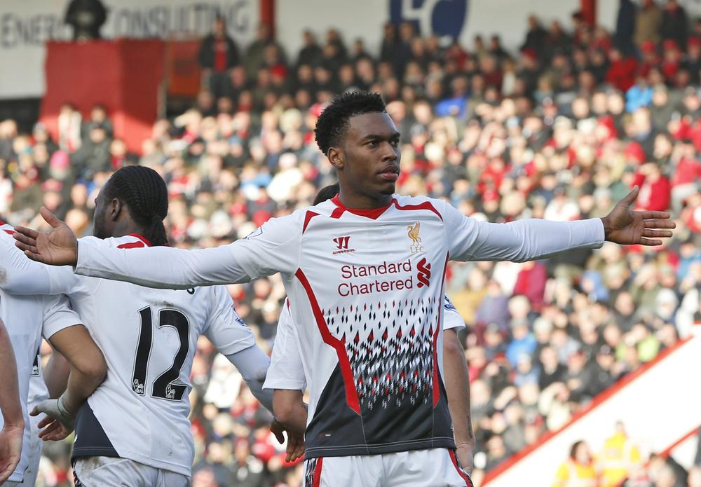 Liverpool's Daniel Sturridge celebrates his goal against AFC Bournemouth during their English FA Cup 4th round soccer match in Bournemouth, south England, Saturday, Jan. 25, 2014. Liverpool won the match 2-0.(AP Photo/Lefteris Pitarakis) AP Photo/Lefteris Pitarakis