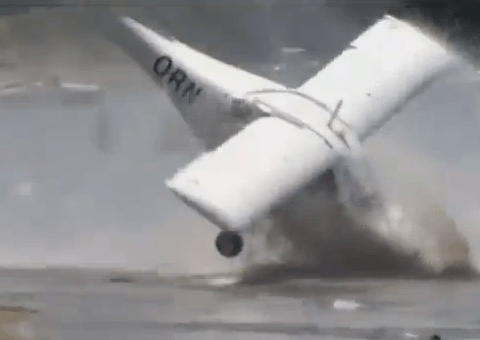 Plane crashes into the sea after making failed take-off from beach