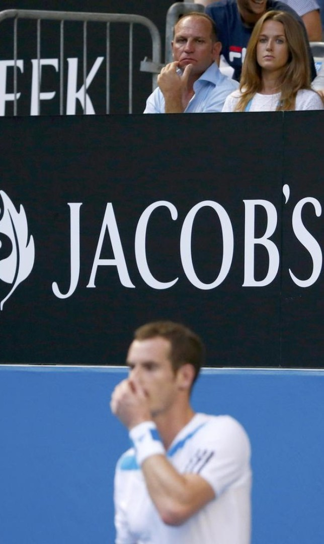 Kim Sears, watches her boyfriend, Andy Murray of Britain during his men's singles match against Go Soeda of Japan at the Australian Open 2014 tennis tournament in Melbourne January 14, 2014. REUTERS/David Gray (AUSTRALIA - Tags: SPORT TENNIS) David Gray/Reuters