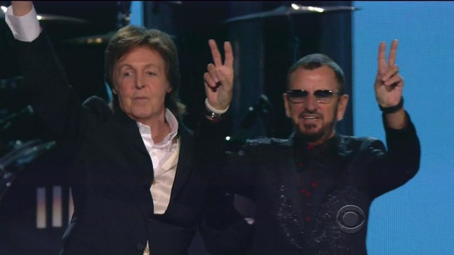 Sir Paul McCartney and Ringo Starr reunited for a performance of Queenie Eye (Picture: CBS/Xposurephotos.com)