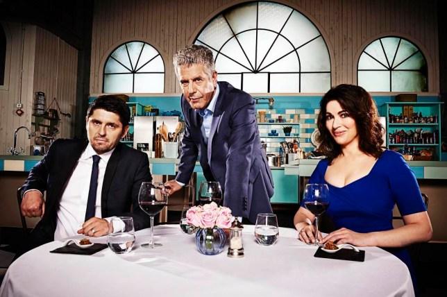 The Taste judges Ludo Lefebvre, Anthony Bourdain and Nigella Lawson (Picture: supplied)