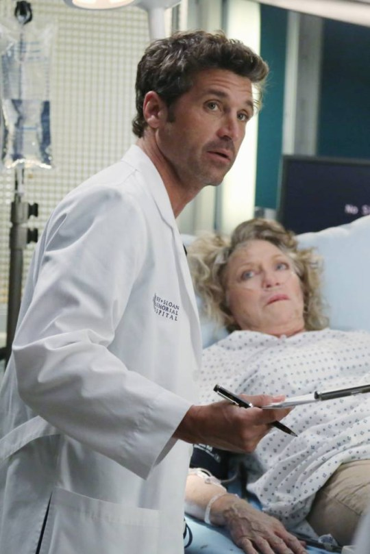 """GREY'S ANATOMY - """"Seal Our Fate"""" - """"Grey's Anatomy"""" returns for its monumental tenth season with a two-hour event, THURSDAY, SEPTEMBER 26 (9:00-11:00 p.m., ET) on the ABC Television Network. In the first hour, """"Seal Our Fate"""" (9:00-10:00 p.m.), the Grey Sloan Memorial Hospital doctors are faced with the devastation left by the storm. A giant mudslide in Seattle injures a group of first responders and citizens, causing the already shorthanded ER to spring into action. Meanwhile, Meredith is faced with a tough decision that will affect the life of a loved one, Callie is rocked by the reality of Arizona's infidelity, and Richard's life is in extreme danger. (ABC/Richard Cartwright).PATRICK DEMPSEY, VERONICA CARTWRIGHT"""