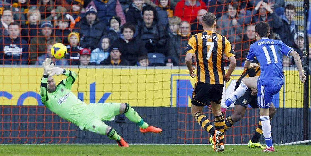 What a save! Chelsea's Oscar denied by stunning Allan McGregor stop