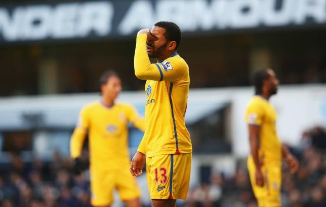 LONDON, ENGLAND - JANUARY 11: Jason Puncheon of Crystal Palace reacts after missing his penalty during the Barclays Premier League match between Tottenham Hotspur and Crystal Palace at White Hart Lane on January 11, 2014 in London, England.  (Photo by Julian Finney/Getty Images)