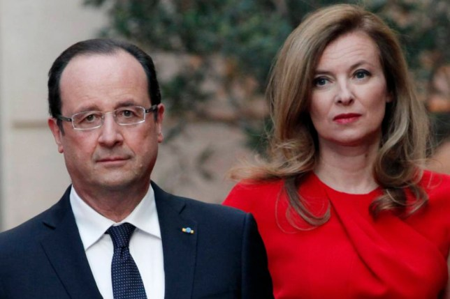 FILE - In this Tuesday, May. 7, 2013, file photo, French President Francois Hollande, left, and his companion Valerie Trierweiler arrive for a state dinner at the Elysee Palace, in Paris as part of Polish President Bronislaw Komorowski's two-day visit to France. The woman considered France's first lady has been hospitalized after a report that the president is having an affair with an actress. Valerie Trierweiler's chief of staff, Patrice Biancone, confirmed Sunday that the 48-year-old journalist who lives with President Francois Hollande has been hospitalized since Friday, Jan. 10, 2014. (AP Photo/Thibault Camus, Pool, File)