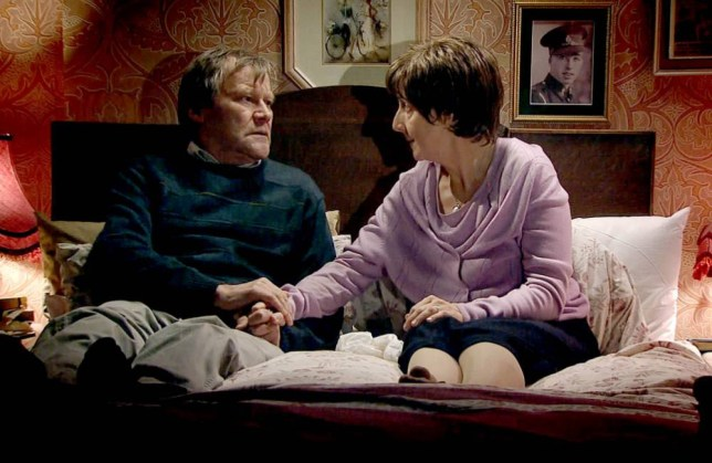 Coronation Street: Julie Hesmondhalgh and David Neilson film Hayley and Roy's final scene together (Picture: ITV)