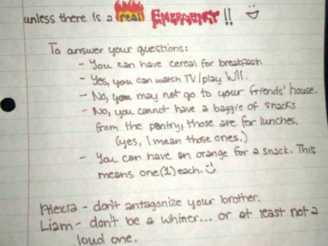Tired parents write hilarious note so children don't wake them – and it worked