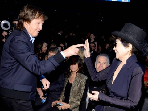 Sir Paul McCartney and Ringo Starr make up with Yoko Ono at the Grammys