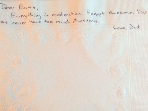 Dad with cancer leaves life advice for daughter on hundreds of napkins
