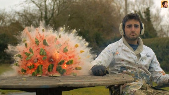 Going off with a bang: Incredible slow motion video of a watermelon exploding