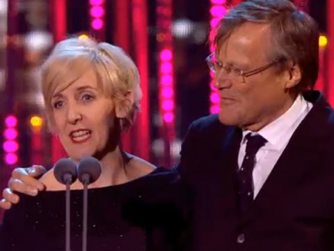 Coronation Street's Julie Hesmondhalgh drags David Neilson on stage as she wins Best Serial Drama Performance at National Television Awards 2014