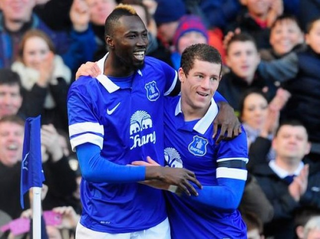 Lacina Traore celebrates his first Everton goal with Ross Barkley (Picture: Getty Images)