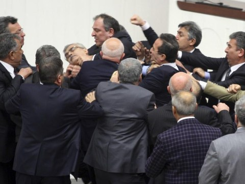 Order, order! Turkish MPs injured in mass Parliament brawl over new bill
