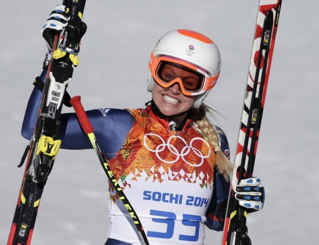 Chemmy Alcott smiles after finishing the women's downhill (Picture: AP)