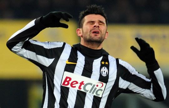 Juventus' forward Vincenzo Iaquinta reac