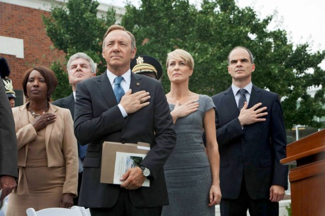 Los Angeles, USA. Robin Wright , Kevin Spacey and Michael Kelly in the  NetFlix new series : House of Cards (2013) Plot: Francis Underwood is Majority Whip. He has his hands on every secret in politics - and is willing to betray them all to become President.  Ref:LMK106-42196-010213 Supplied by LMKMEDIA. Editorial Only. Landmark Media is not the copyright owner of these Film or TV stills but provides a service only for recognised Media outlets. pictures@lmkmedia.com