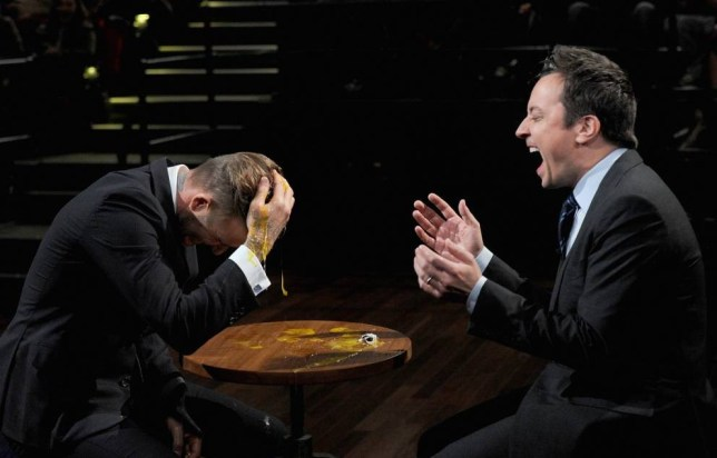 David Beckham and Jimmy Fallon play Egg Russian Roulette on Late Night With Jimmy Fallon