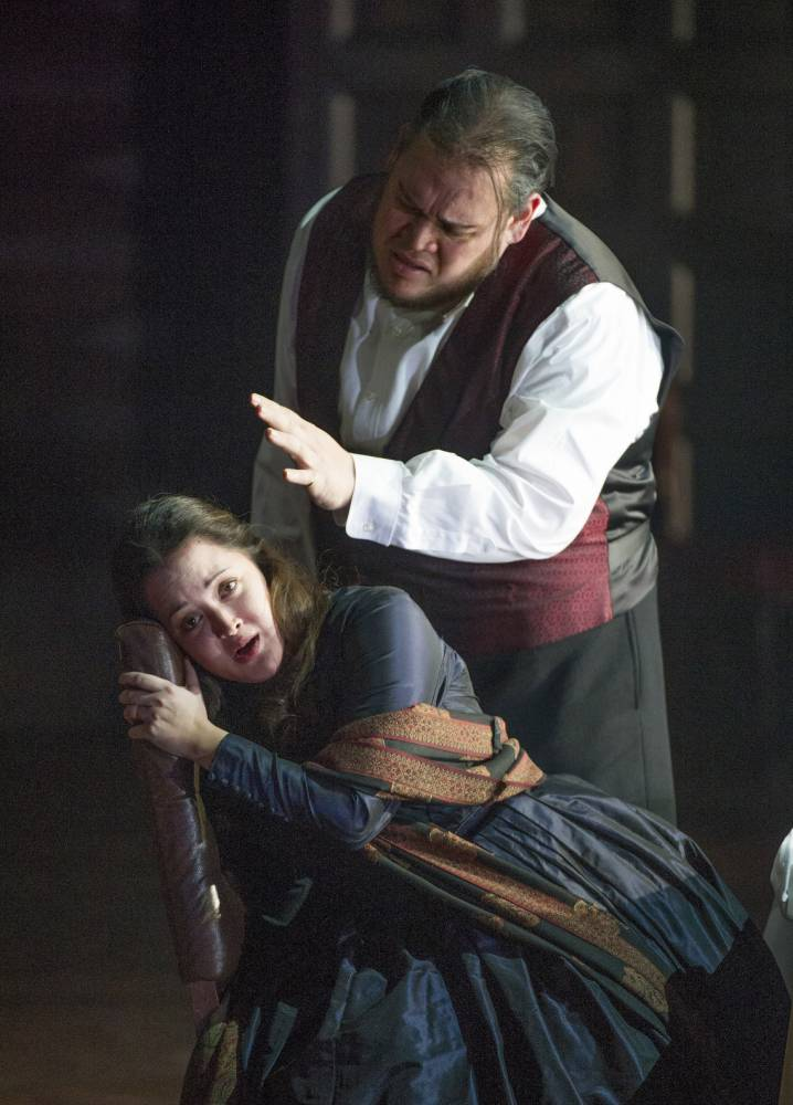 Two styles: Anna Christy and Quinn Kelsey in Rigoletto (Picture: Alastair Muir)