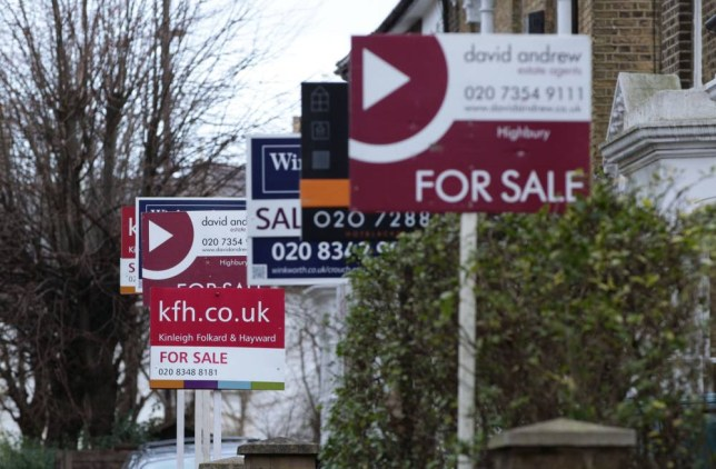 """File photo dated 27/01/14 of for sale signs displayed outside houses in Finsbury Park, North London as house prices have surged to another record high and now stand at one quarter of a million pounds on average, official figures show. PRESS ASSOCIATION Photo. Issue date: Tuesday February 18, 2014. Property values rose by 5.5% across 2013 to reach £250,000 in December, with price growth """"beginning to increase strongly across parts of the UK"""", the Office for National Statistics (ONS) said. Price rises in London are still responsible for a """"large part"""" of the upswing in values, the ONS said. London saw a 12.3% increase in house prices in the year to December pushing prices to £450,000 typically, which is one fifth (20.3%) higher than their pre-financial crisis peak in the capital in 2008. See PA story ECONOMY House. Photo credit should read: Yui Mok/PA Wire"""