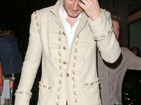 Nicklas Bendtner looks embarrassed as he goes partying after Arsenal snub